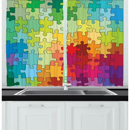 Abstract Curtains 2 Panels Set Colorful Puzzle Pieces Fractal Children Hobby Activity Leisure