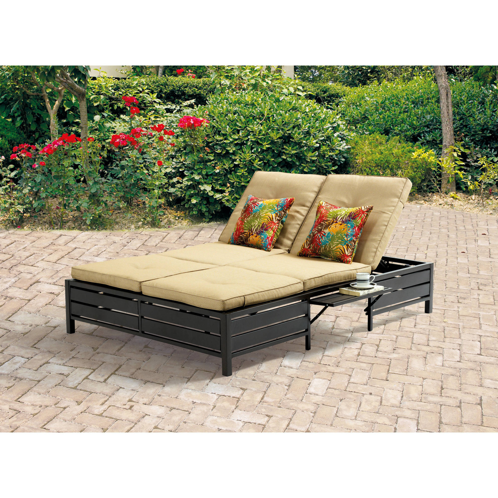 Mainstays Outdoor Double Chaise Lounger, Tan, Seats 2   Walmart.com