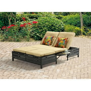Mainstays Outdoor Double Chaise Lounge Bench, Multi-Color Stripes, Seats 2