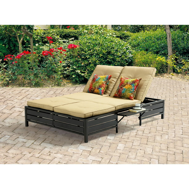 Mainstays Outdoor Double Chaise Lounge Bench for Patio, Tan, Seats 2
