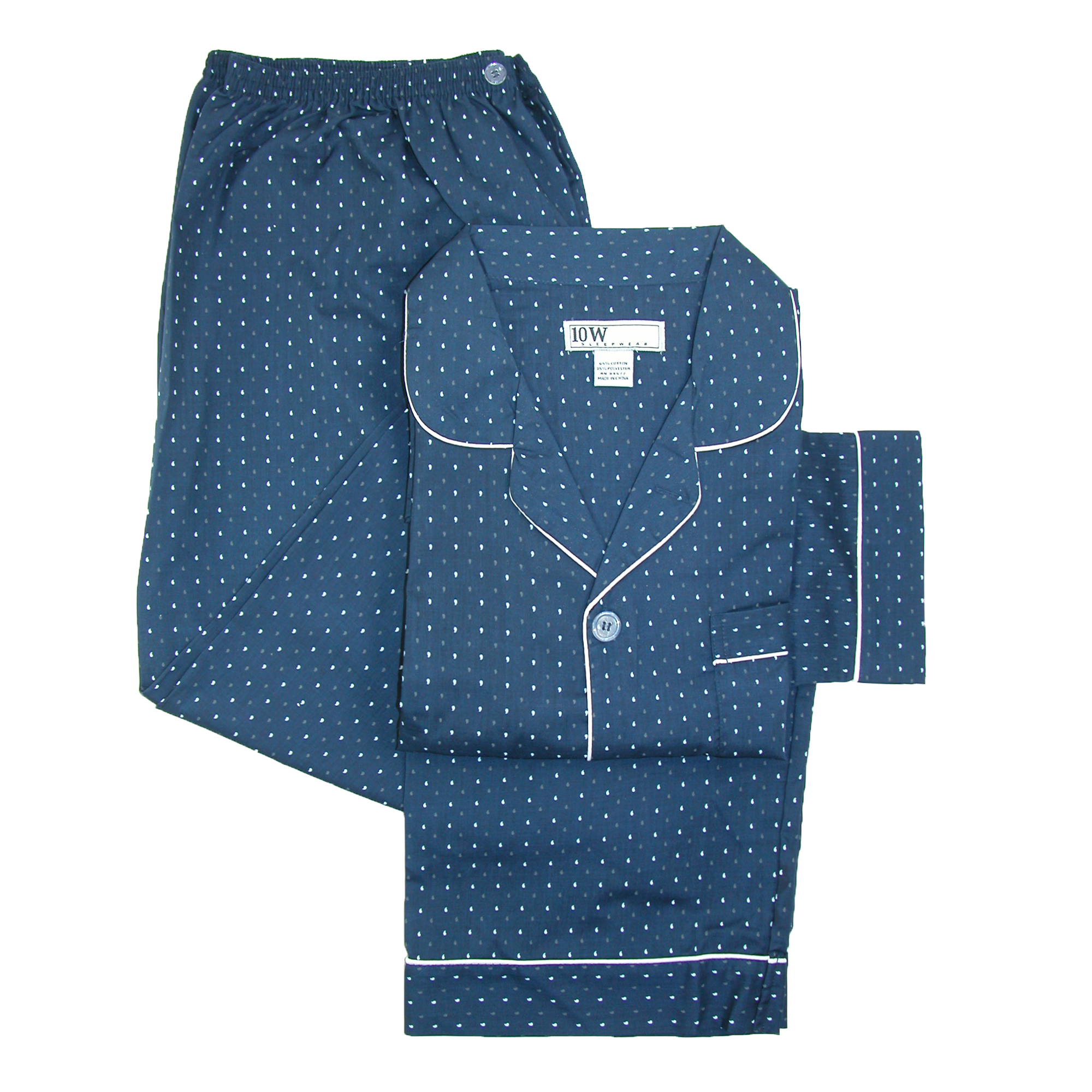 Ten West Apparel  Mens Long Sleeve Long Pant Pajama Set,