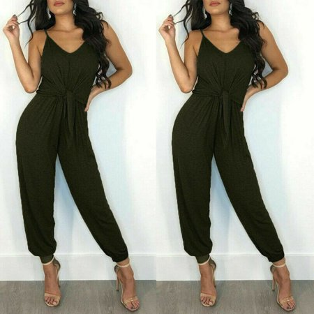Womens Summer Sleeveless Jumpsuit Jumpsuit Casual Loose Jumpsuit Sling (70's Women's Jumpsuits)