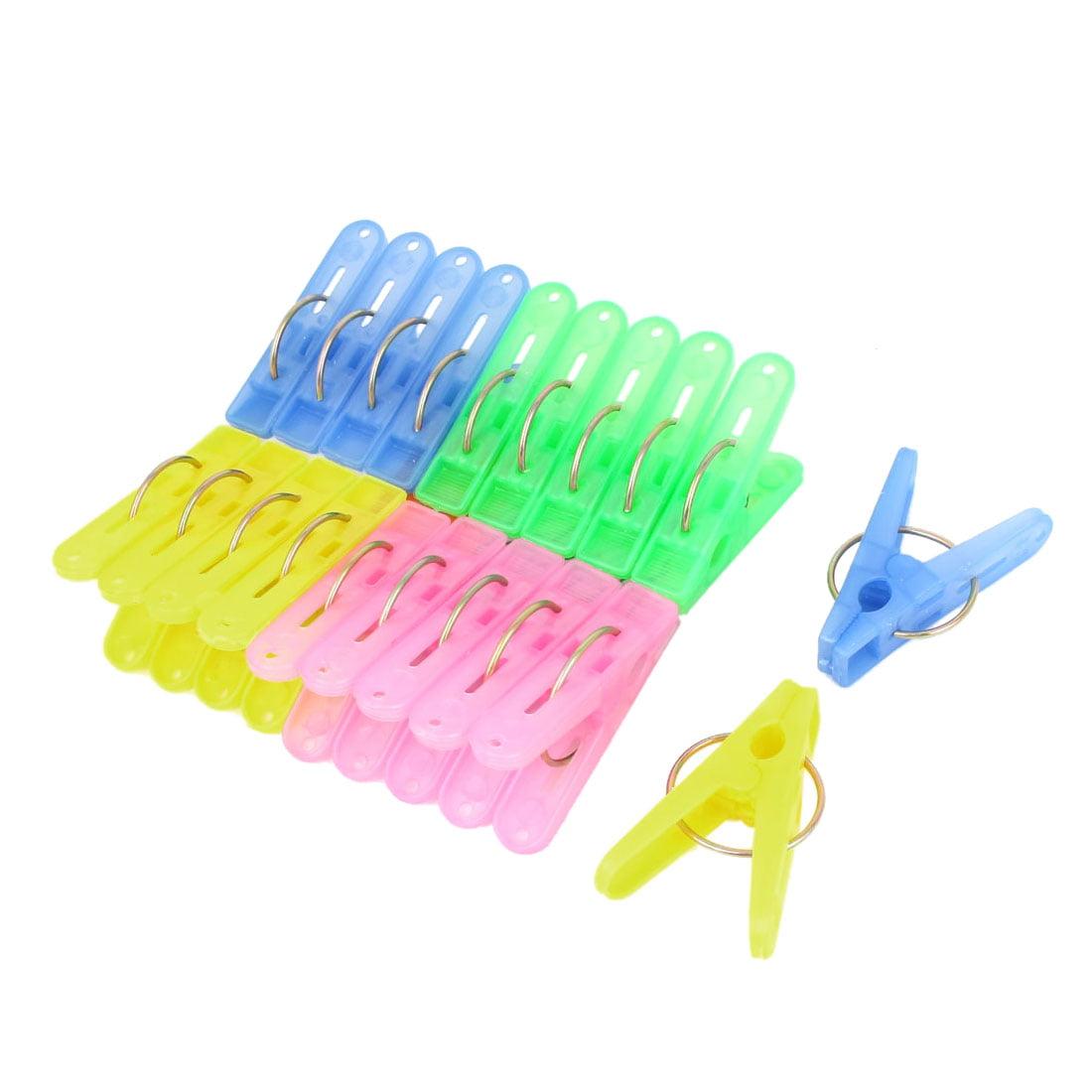 20 Pcs Household Plastic Nonslip Multipurpose Clothing Clothespins Clips Multicolour