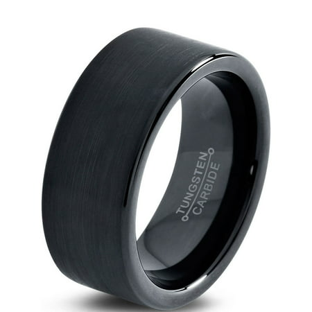 Tungsten Wedding Band Ring 9mm for Men Women Comfort Fit Black  Pipe Cut Brushed Lifetime Guarantee