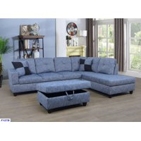 Raphael Sectional Sofa Right Facing with Ottoman, Multiple Colors