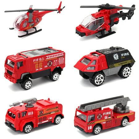 Wedlies Car Model Toys 6 Pcs Diecast Vehicles Toys Truck Tank Mini Helicopter Boys Girls Kids Children Gift Pack