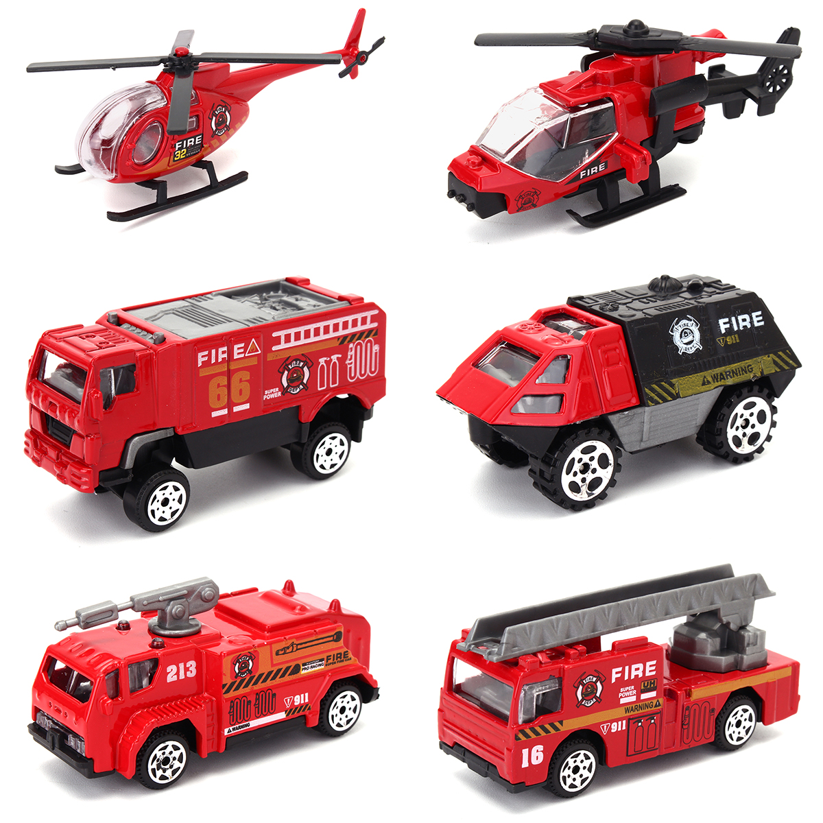 Wedlies Car Model Toys 6 Pcs Diecast Vehicles Toys Truck Tank Mini Helicopter Boys Girls Kids Children Gift Pack