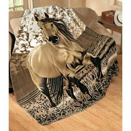Blanket Appaloosa Horse - Western Country Tan Brown Galloping Horse Fleece Throw Blanket