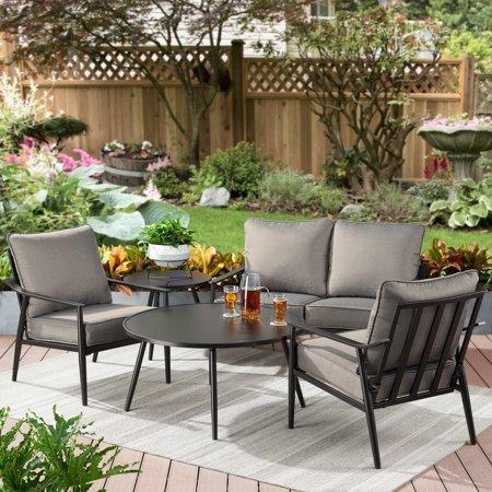 Better Homes & Gardens Acadia 5-Piece Patio Sofa Set with Gray Cushions