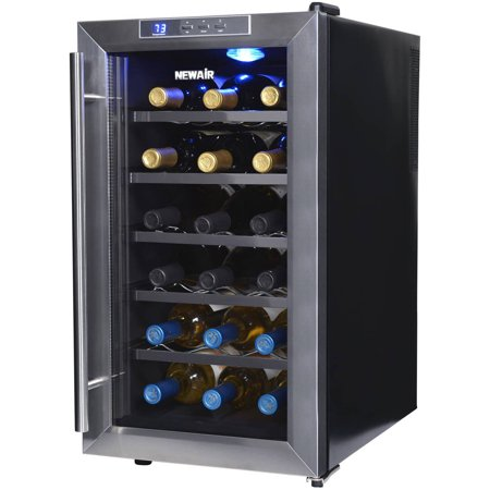 NewAir 18-Bottle Thermoelectric Wine Refrigerator, Stainless Steel and - Thermoelectric Wine Cellar