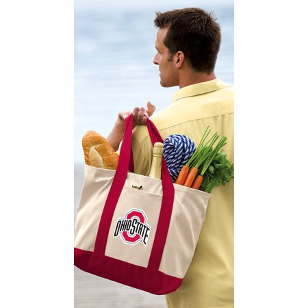 Ohio Canvas Tote (OFFICIAL OSU Buckeyes Tote Bag CANVAS Ohio State University Tote Bags TRAVEL BEACH SHOPPING)