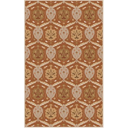 9' x 12' Constantina Taupe and Burnt Orange Hand Tufted Wool Area Throw Rug