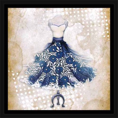 Mens Pvc Dotted Canvas - Floral Fashion Dress with Polka Dots on Vintage Paper Blue, Framed Canvas Art by Pied Piper Creative