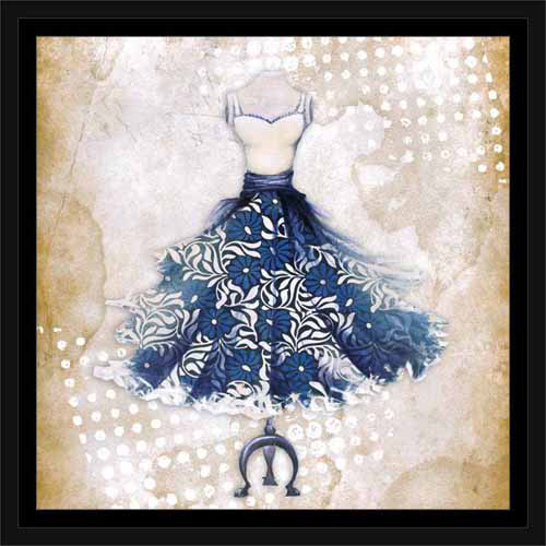 Floral Fashion Dress with Polka Dots on Vintage Paper Blue, Framed Canvas Art by Pied Piper Creative