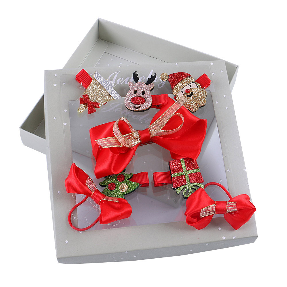 Kids Infant Baby Girls Christmas Bow Cartoon Hairclip Hairpin Set Barrettes
