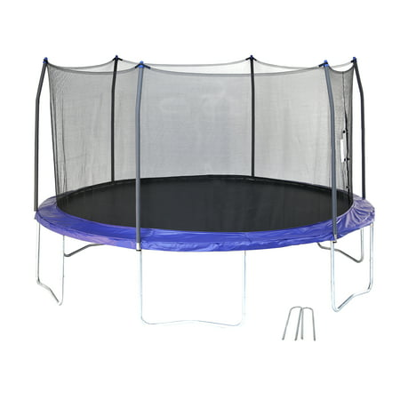 Skywalker Trampolines 14-Foot Trampoline, with Wind Stakes, (Best Trampoline Basketball Hoop)