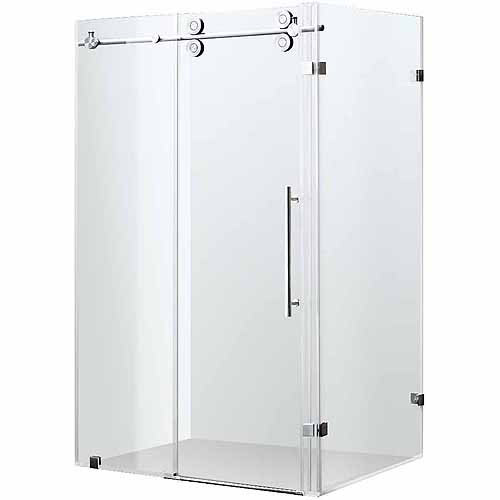 "Vigo 36"" x 60"" Frameless 3/8"" Clear/Stainless Steel Shower Enclosure"