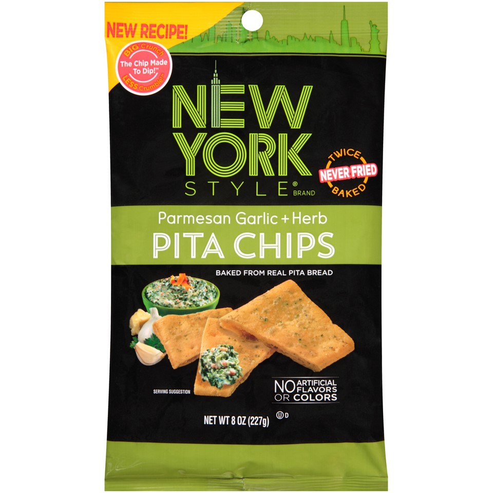 (3 Pack) New York Style Pita Chips, Parmesan, Garlic & Herb, 8 Oz