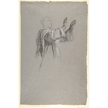 Cleric With Raised Arms  Lower Register Study For Wall Paintings In The Chapel Of Saint Remi Sainte Clotilde Paris 1858  Poster Print By Isidore Pils  French Paris 181315   1875 Douarnenez   18 X 24