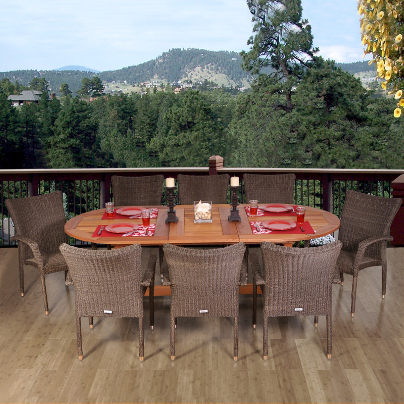 Provence 9-Piece Eucalyptus/Wicker Square Patio Dining Set, Brown