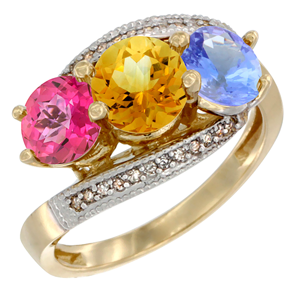 14K Yellow Gold Natural Pink Topaz, Citrine & Tanzanite 3 stone Ring Round 6mm Diamond Accent, size 5 by Gabriella Gold