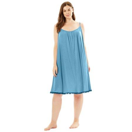 113a58676 Amoureuse - Plus Size Lace Trim Babydoll Chemise By Amoureuse - Walmart.com