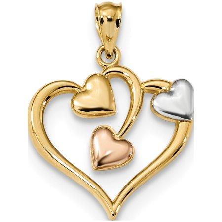 14k Two-Tone Gold  & Rose w/Rhodium Polished Three Hearts (18.6x24.1mm) Pendant / Charm - image 1 of 2