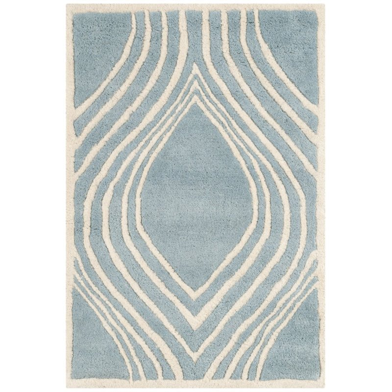 """Safavieh Chatham 2'3"""" X 7' Hand Tufted Wool Rug in Blue and Ivory - image 8 of 9"""