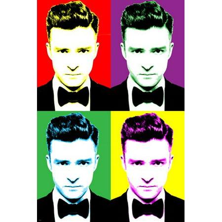 Singer Justin Timberlake Celebrity Pop Art Poster Multiple Images 24X36