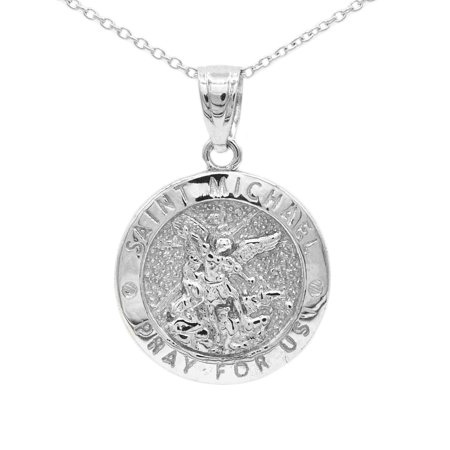 "925 Sterling Silver Dainty Round Saint Michael Medallion Necklace With 18"" Chain"