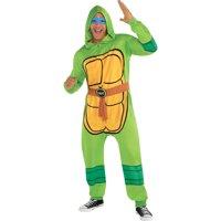 Amscan Zipster Teenage Mutant Ninja Turtles One Piece Halloween Pajamas Costume for Adults, Small/Medium