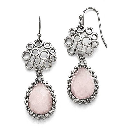 Chisel Stainless Steel with Rose Quartz Dangle Earrings SRE753 Rose Quartz Loop Earrings