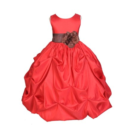 Ekidsbridal Taffeta Bubble Pick-up Red Flower Girl Dress Christmas Weddings Summer Easter Dress Special Occasions Pageant Toddler Girl's Clothing Holiday Bridal Baptism Junior Bridesmaid
