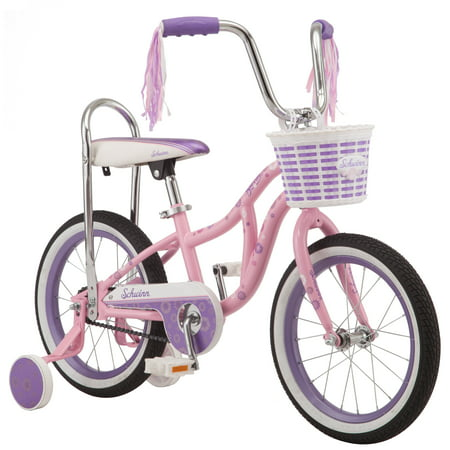 Schwinn Bloom kids bike, 16-inch wheel, training wheels, girls, pink, banana seat (Adult Banana Seat Bicycle)