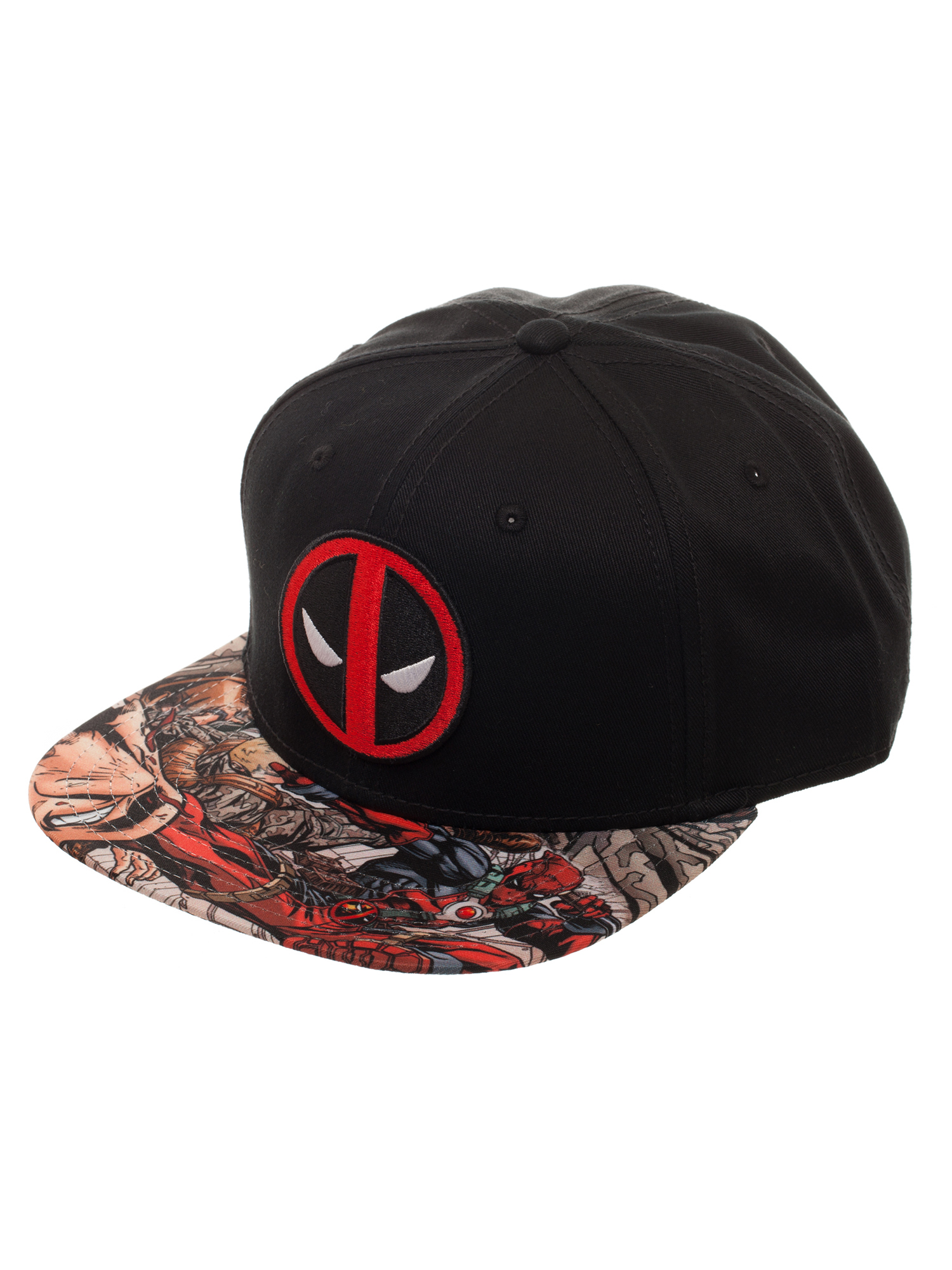 Deadpool Embroidered Snapback Hat with Comic Book Print Sublimated Flat Bill f823bdbb570