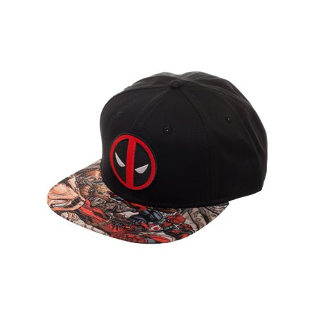 Deadpool Embroidered Snapback Hat with Comic Book Print Sublimated Flat Bill