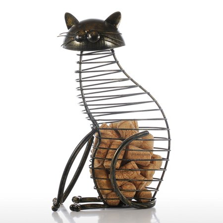 Tooarts Cat Wine Cork Container Home Decor Iron Craft Gift Handicraft Animal Ornament - image 1 of 7