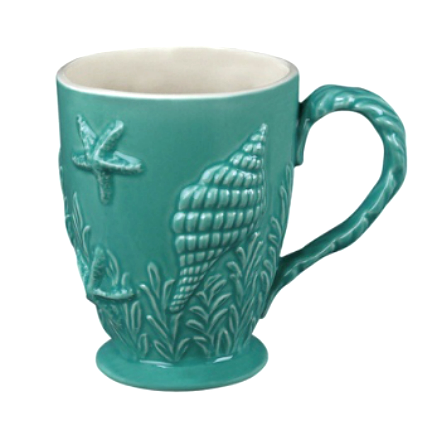 Nautical Ocean Beach Embossed Turquoise Blue Shell Coffee Latte Mug