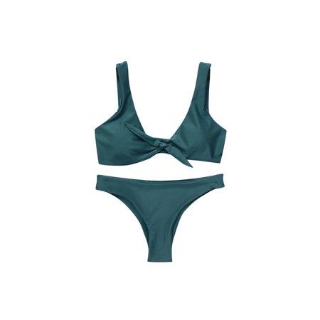 Juniors' Swimsuit Padded Brazilian Solid Color Knot Bikini (Green,Small) (Small Padded Bikini)