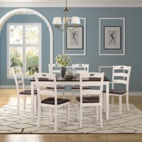 Clearance!7 Piece Dining Table Set, Modern Kitchen Table Sets with Dining Chairs for 6, White Heavy Duty Wooden Rectangular Dining Room Table Set for Home, Kitchen, Living Room, Restaurant, L940