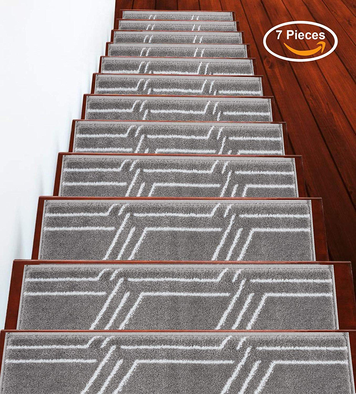 Stairs Treads Anti Slip Stair Treads Non Slip Stair Treads Stair Grips Indoor Outdoor Stair Treads Carpet Stair Treads Stair Runner Carpet Runner For Stairs Carpet Gray 9 X 28 7 Pack