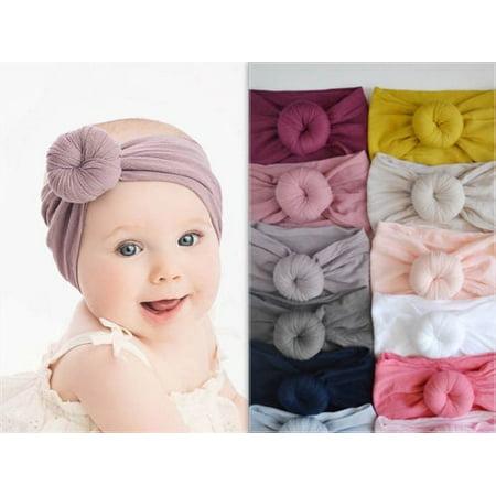 Fashion Toddler Girls Kid Baby Nylon Bow Hairband Headband Stretch Turban Knot Head Wrap