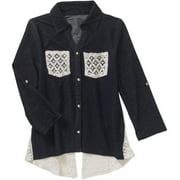"""Girls' """"Lace Groupie"""" Knit Denim Top with Lace Chest Pockets and Lace Back Inserts"""