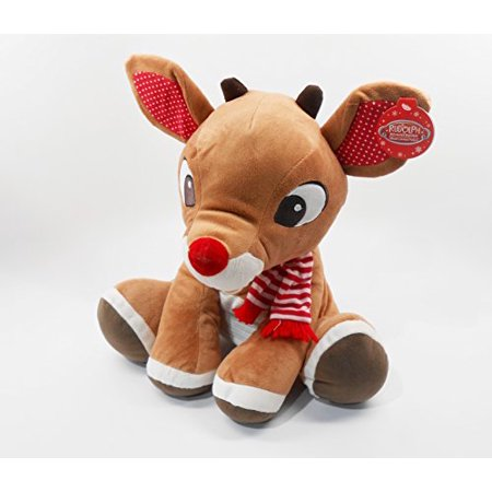 Rudolph, The Red-Nosed Reindeer, LARGE 14 inch (35.56 cm) Plush - Red Nose Reindeer Plush