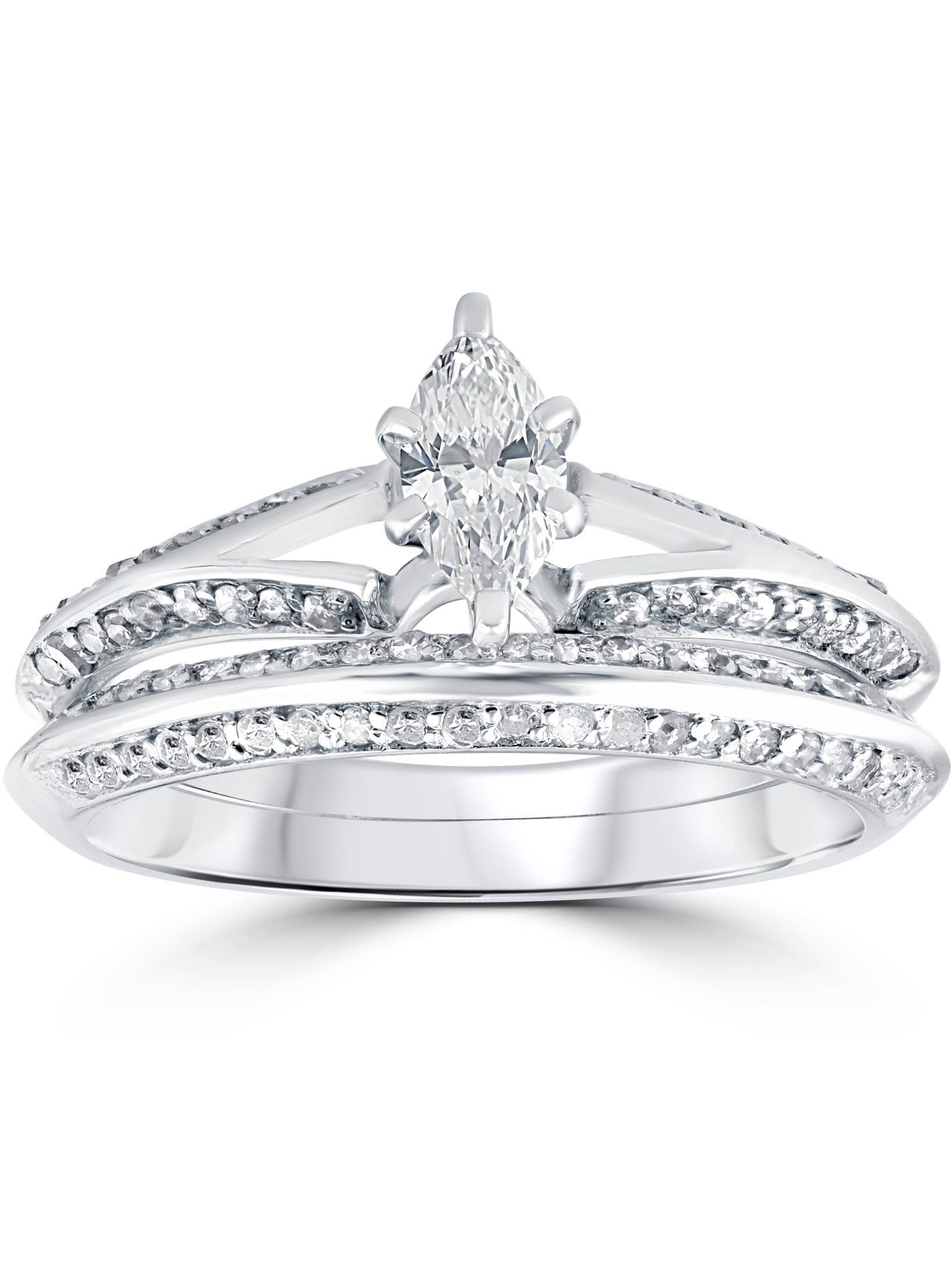 3 4 ct Marquise Diamond Engagement Wedding Ring Set 14k White Gold by Pompeii3