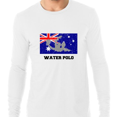 Australia Olympic - Water Polo - Flag - Silhouette Men's Long Sleeve T-Shirt