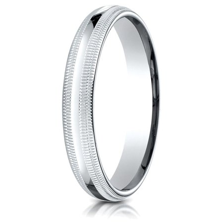 - 14k Gold 4mm Slightly Domed Standard Comfort-fit Wedding Band / Ring with Double Milgrain