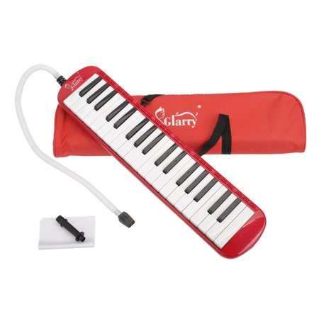Reactionnx 37 Keys Piano Style Melodica Kit Childrens Portable Harmonica Pianica Mouth Piece Blow Key Board Musical Instrument Melodica with Mouthpiece Hose Bag Red