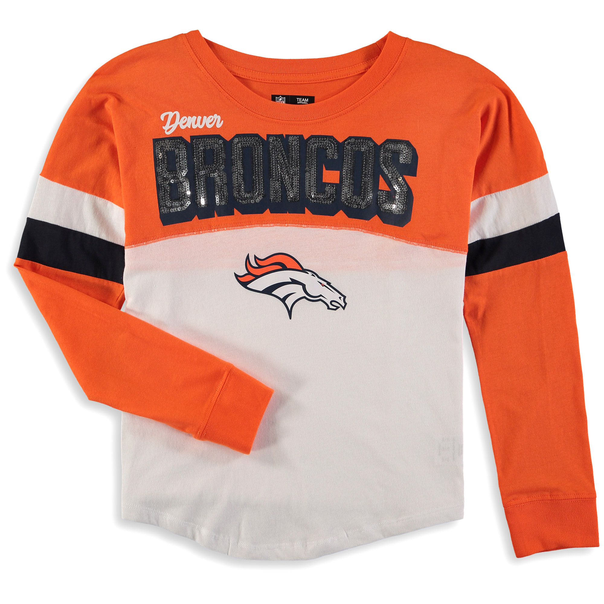 Denver Broncos New Era Girls Youth Baby Jersey Long Sleeve T-Shirt - White/Orange
