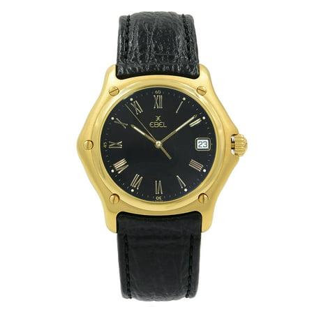 Pre-Owned Ebel 1911 8187916 18K Yellow Gold Black Roman Dial Quartz Unisex Watch